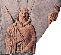 Bas-relief d'époque romaine (1er s.) trouvé dans les thermes d'Orolaunum